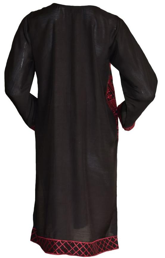 Black Kurta with Red Embellishment