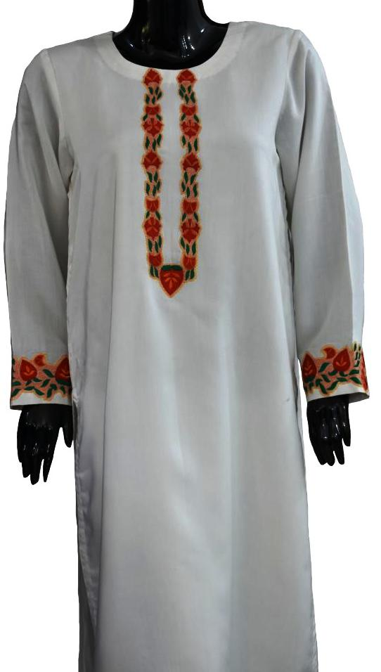 White Cotton Silk Jora with Embroidery