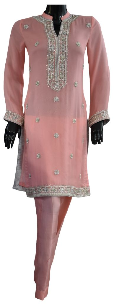 Light Pink and Silver Wedding Ensemble