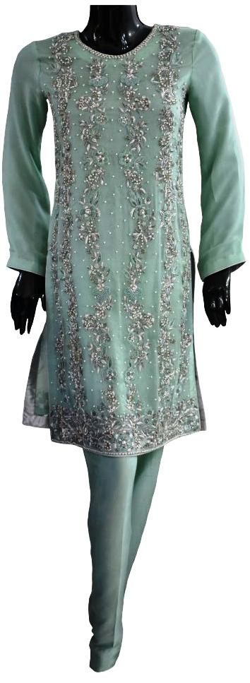 Sea Green, Pearl and Silver Embellishment Ensemble