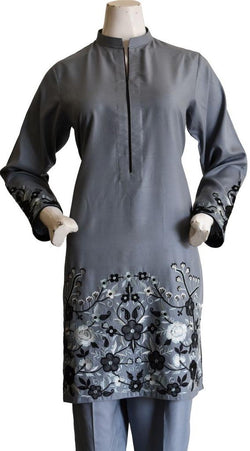 Steel Grey Embroidered Suit