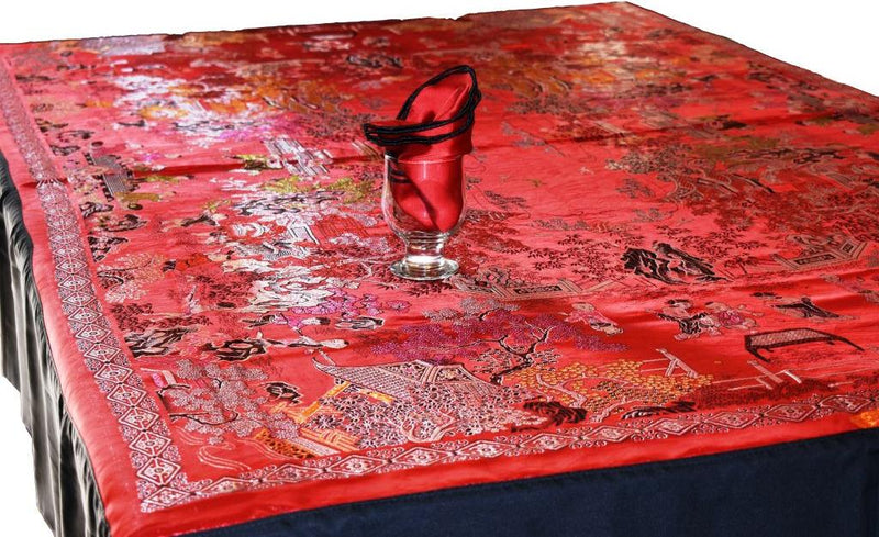 Chinese Silk Table Cover Set