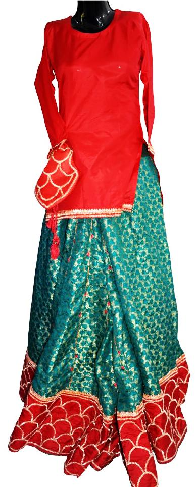 Red and Green Gota Bridal Dress