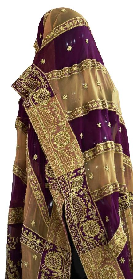 Gold and Purple Wedding Dupatta