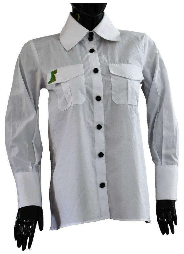 White cotton shirt with embroidered pocket