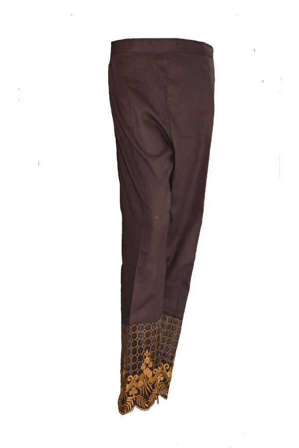 Brown Embroidered Trouser
