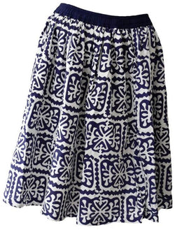 Dark Blue Block Print Skirt