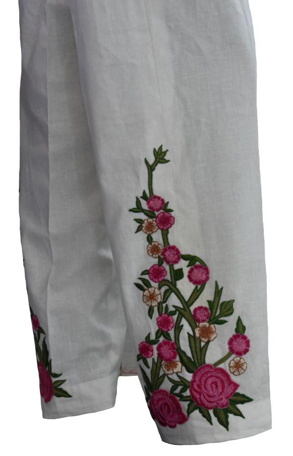 White and Pink Floral Trousers