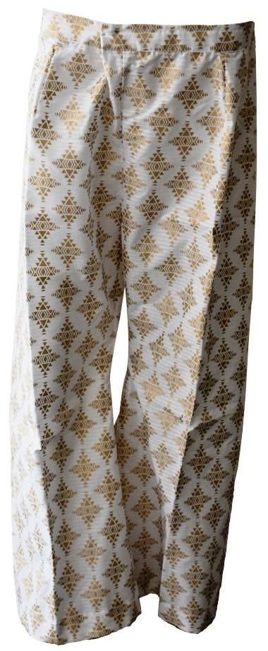 White and Gold Chic Trousers