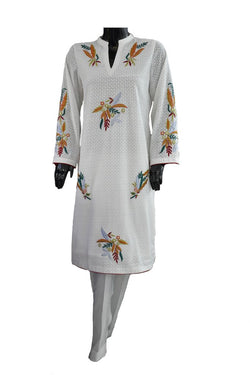 White with Applique Embroidery