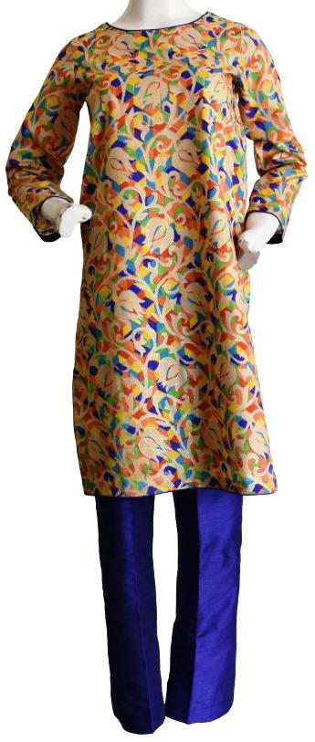 Multi Coloured Floral Raw Silk Jora