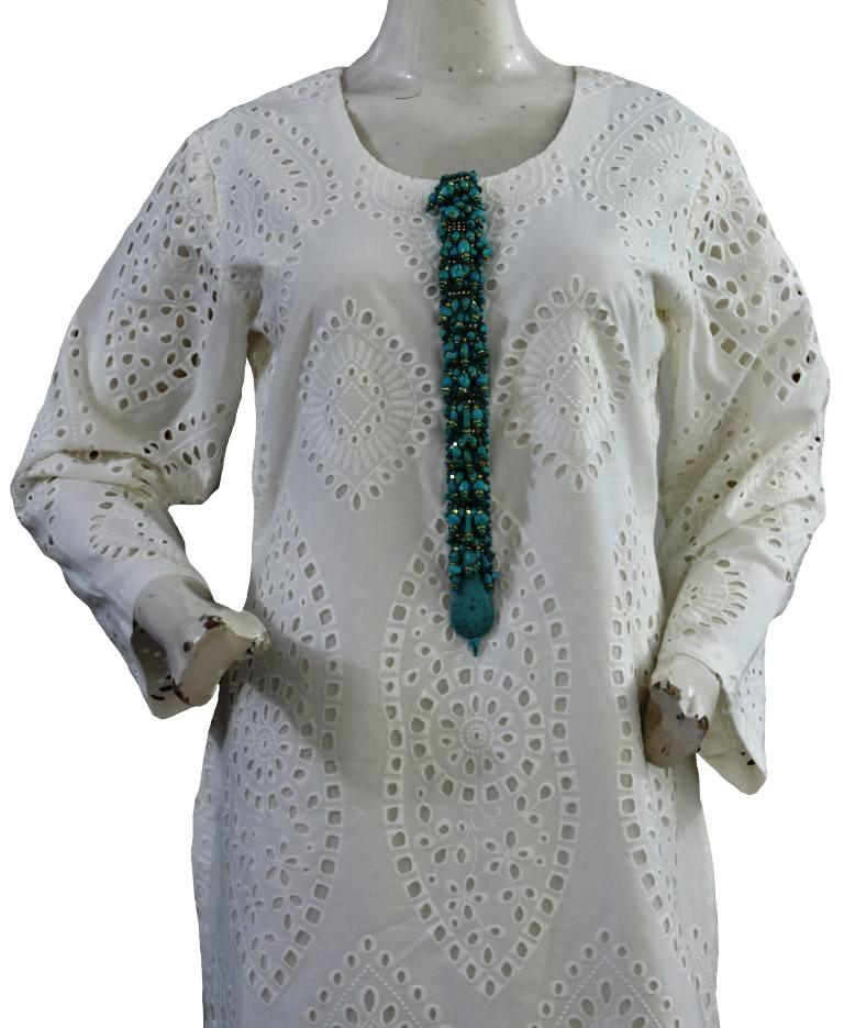 White Chicken Suit with Feroza Buttons