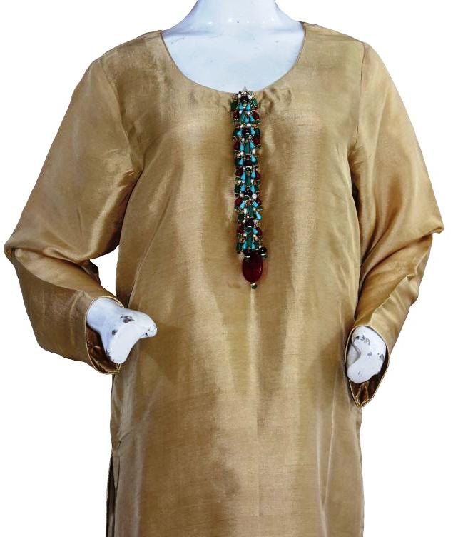 Dull Gold Silk Suit with Semi-Precious Buttons