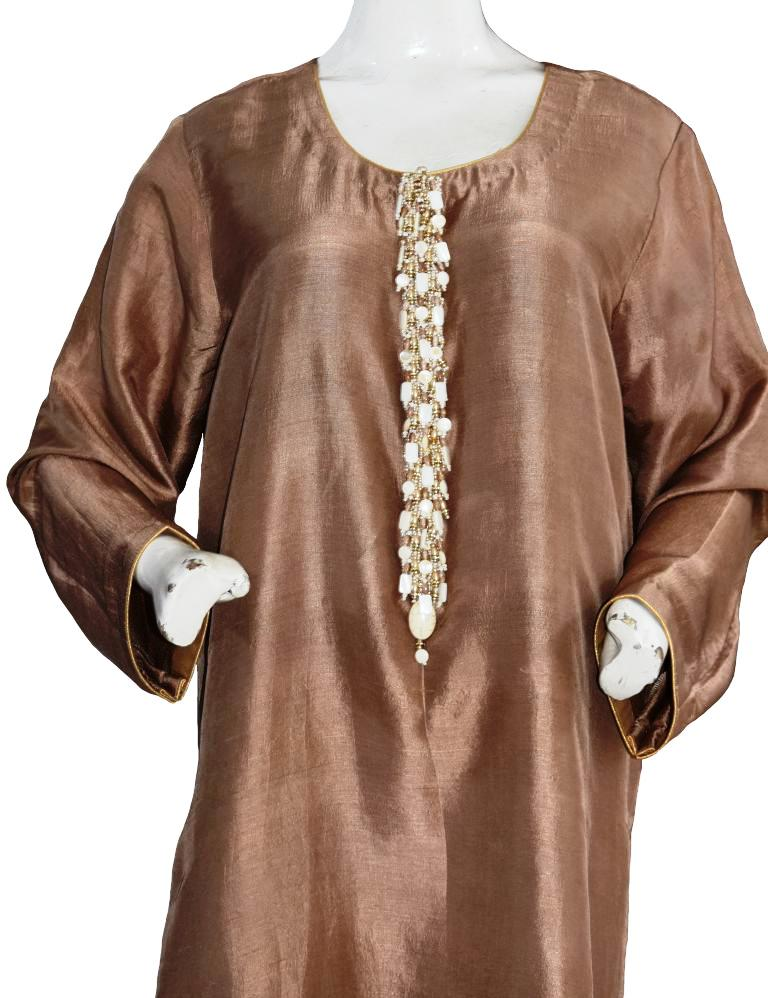 Bronze Silk Suit with Semi-Precious Buttons