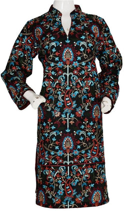 Black Kashmiri Inspired Kurta