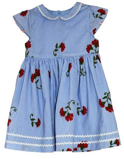 Stripe and Red Flower Girl's Dress