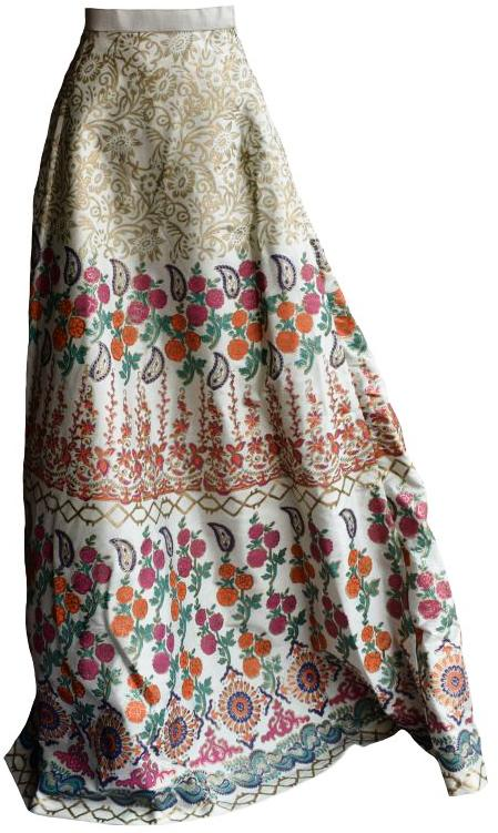 Cream and Gold Block Printed Lehenga