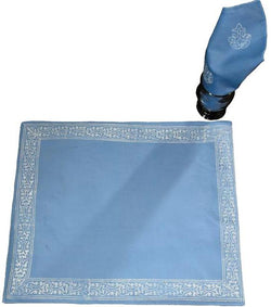 Sky Blue and White Tablemat Set
