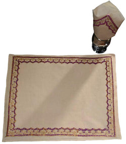 Beige Block Printed Tablemat Set