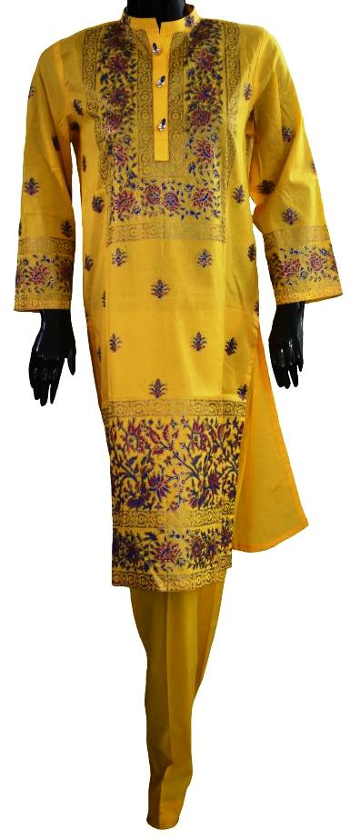 Yellow Block Print Suit