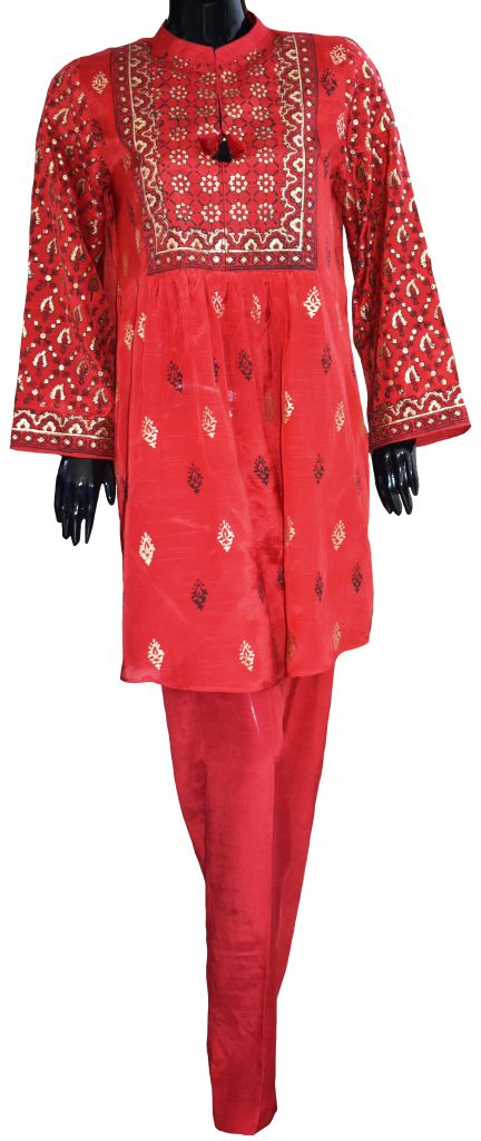 Red Block Print Ensemble