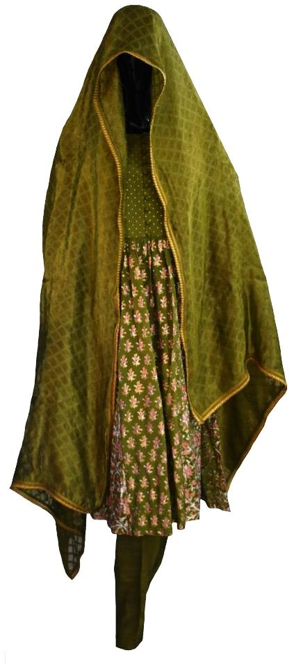 Green Block Printed Outfit