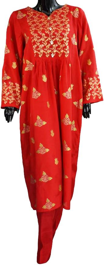 Bright Red Block Printed Ensemble