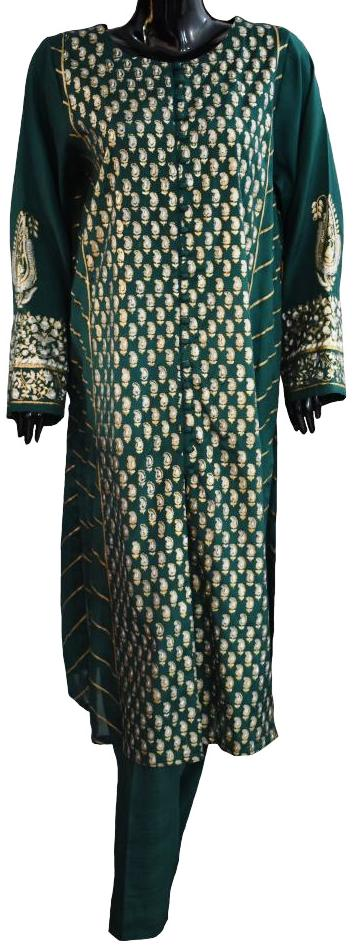 Green and Gold Block Printed Ensemble