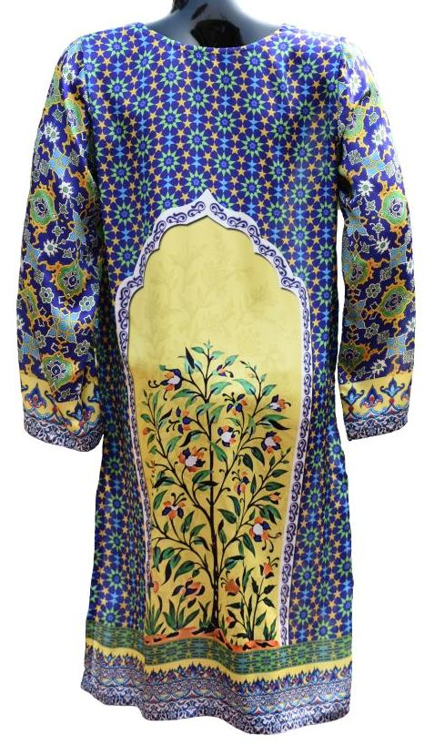 Geometric and Floral Silk Kurta