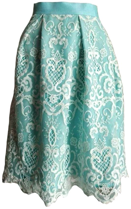 Baby blue lace skirt