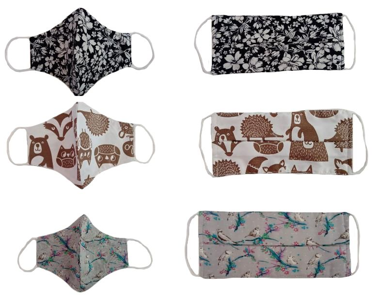Cotton and linen printed face masks