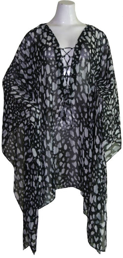 Black Animal Print Kaftan