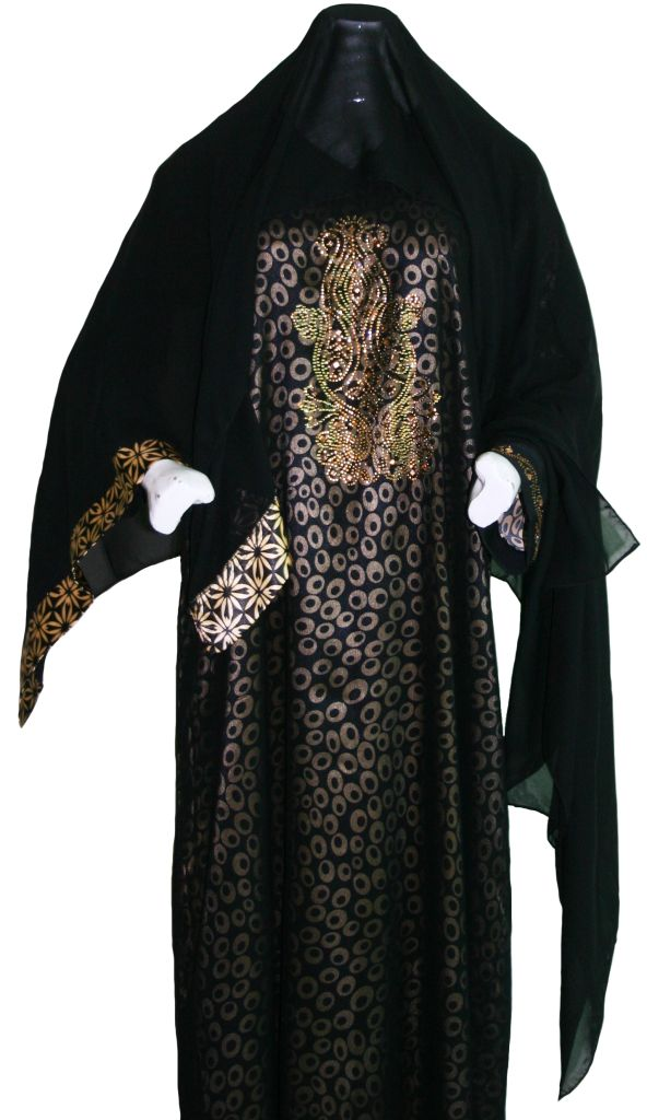 Black and Gold Sequined Abaya