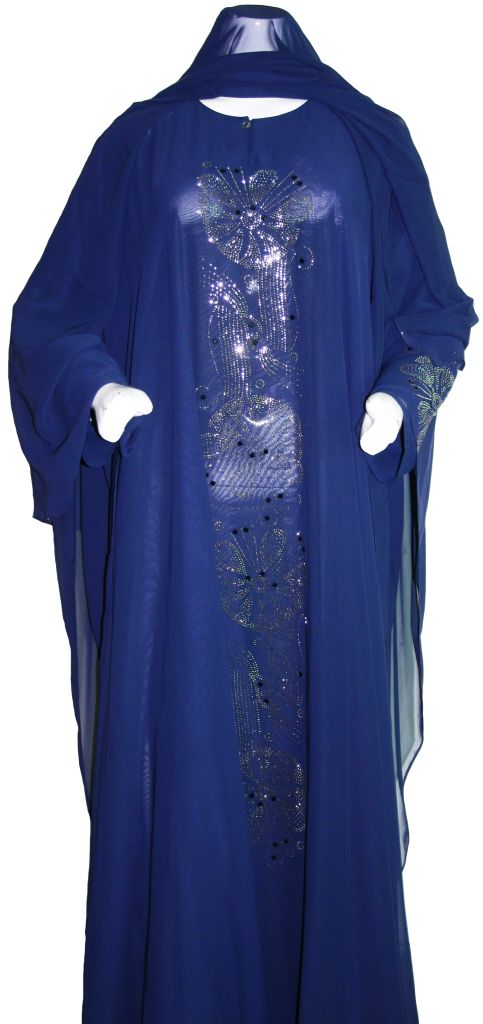 Navy Blue and Silver Sequined Abaya