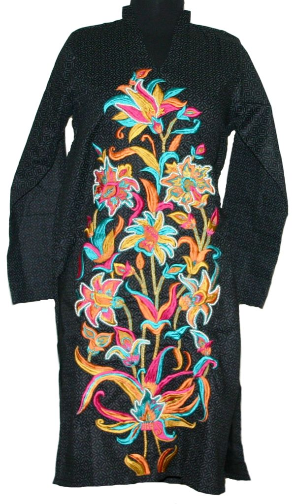 Black Floral Embroidery