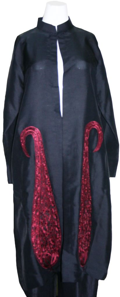 Black and Red Kashmiri Coat