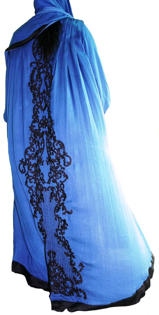 Royal blue and black abaya