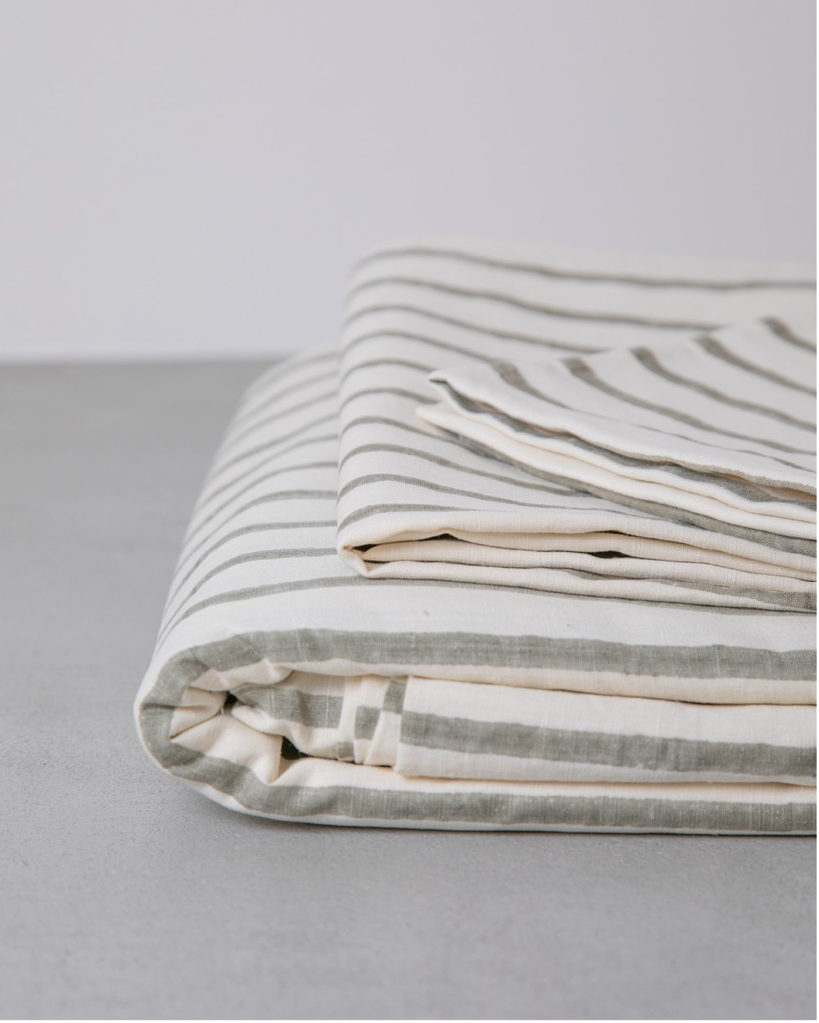 Hemp Duvet - Ash Stripe
