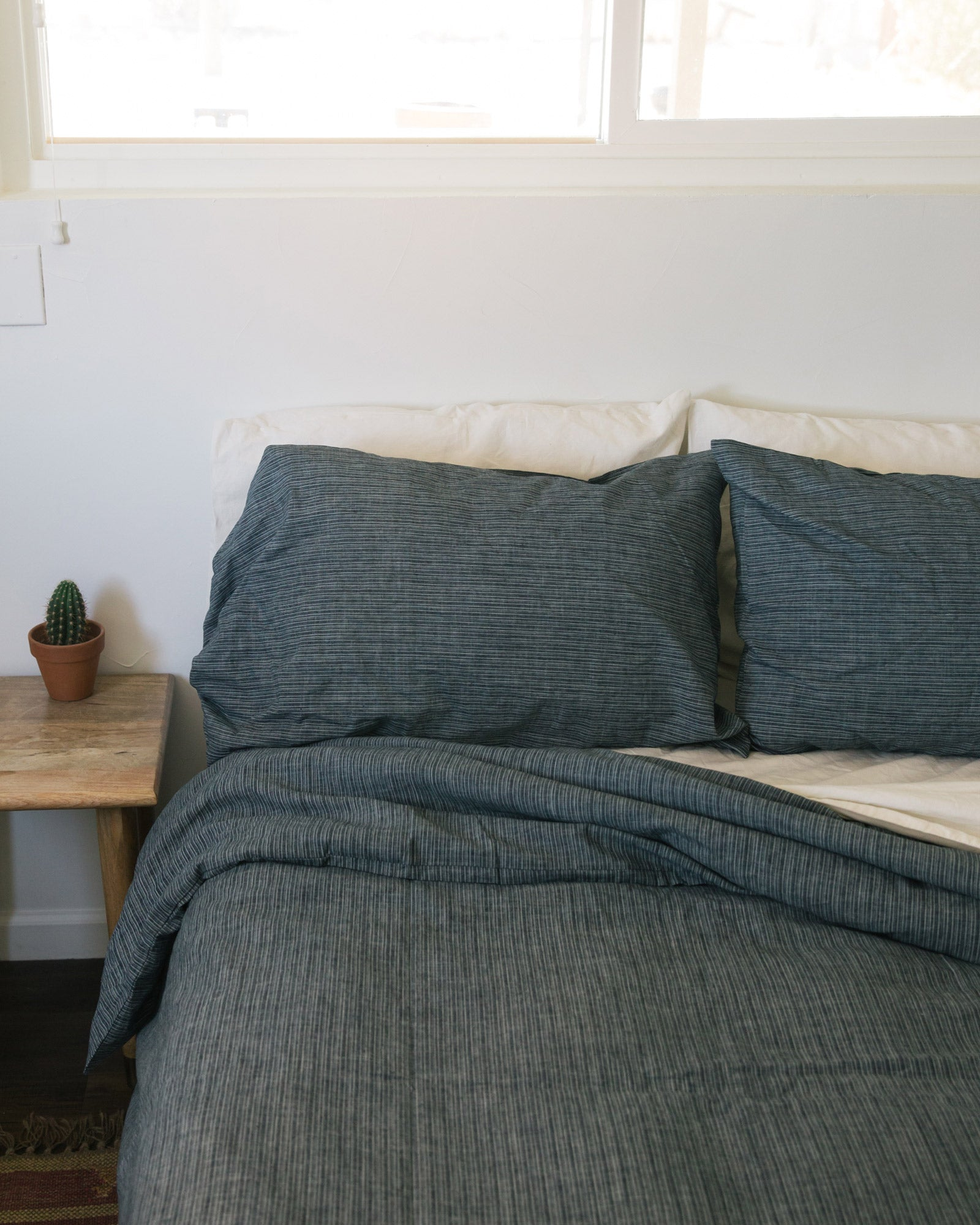 Hemp Pillowcase - Blue Stripe