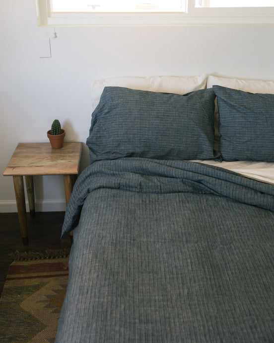 Hemp Duvet - Jodhpur Blue Stripe