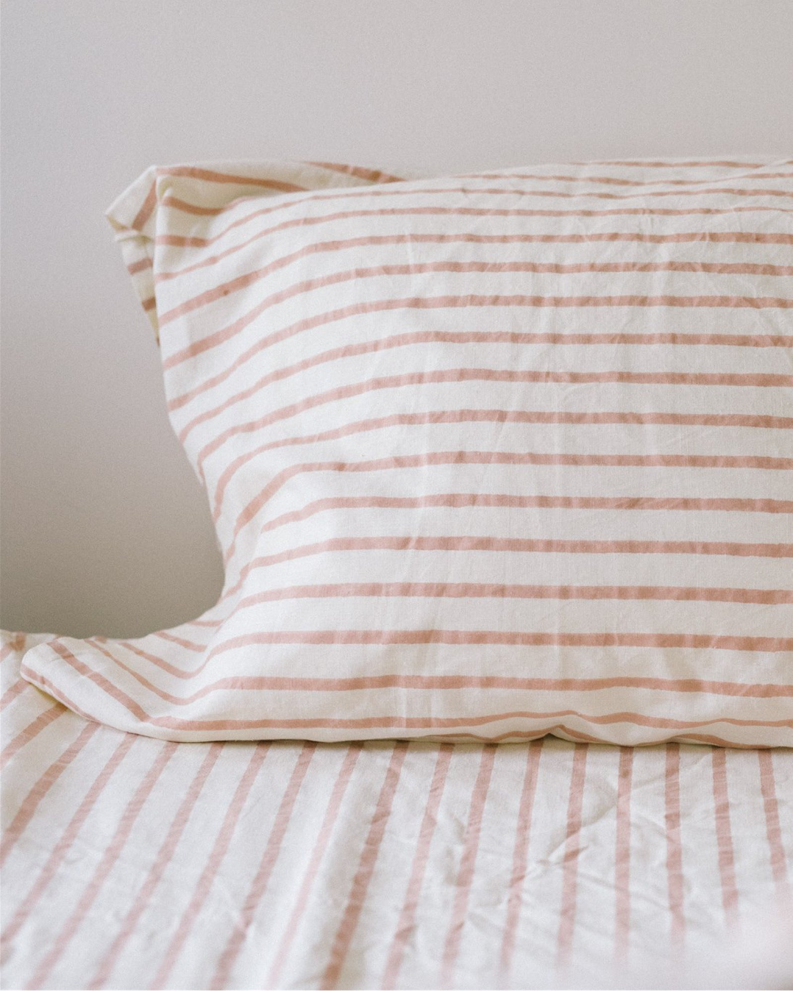 Hemp Pillowcase Set- Blush Stripe
