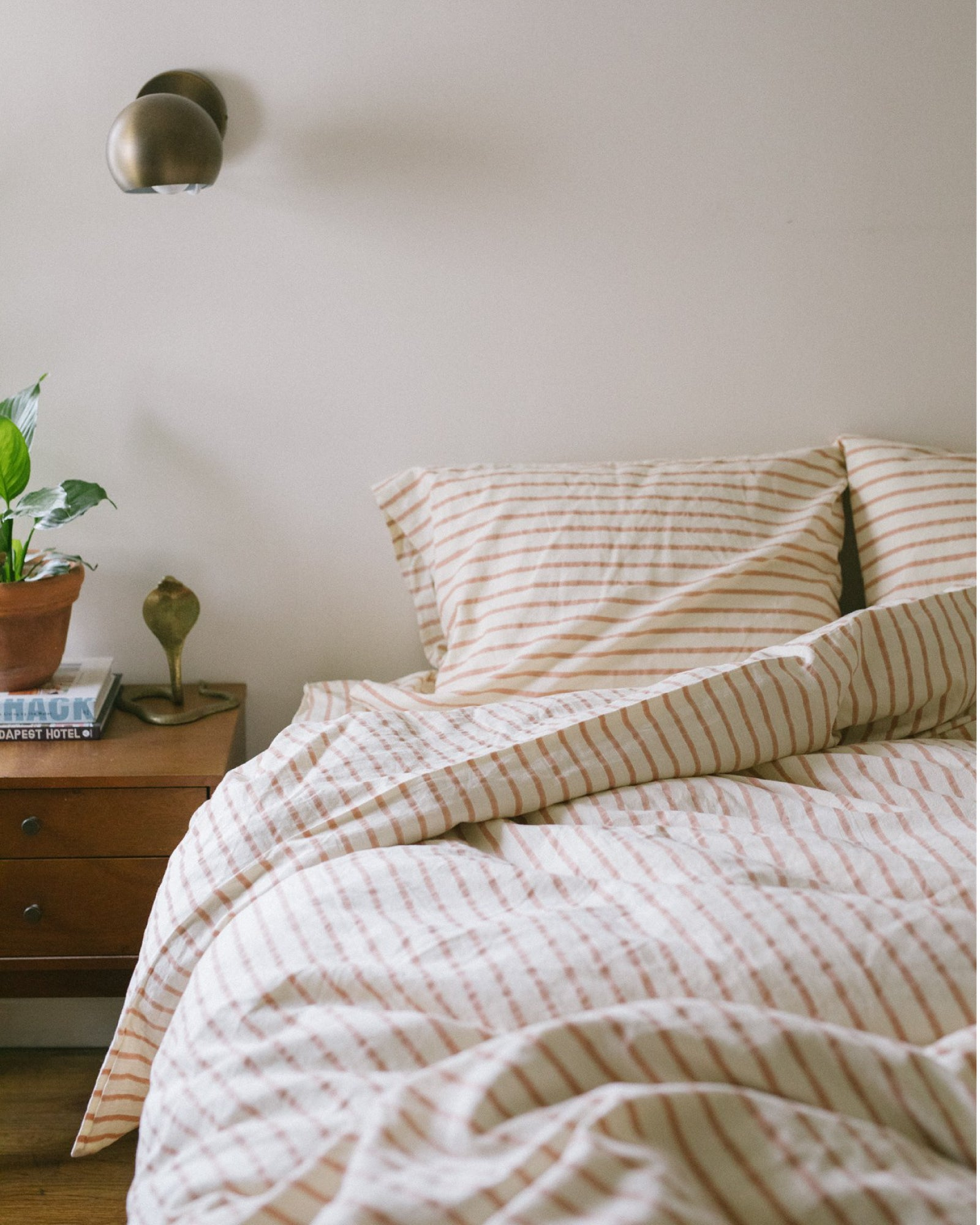 Hemp Duvet - Blush Stripe