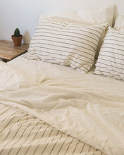 Load image into Gallery viewer, Hemp Duvet - Jaipur Olive Stripe
