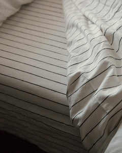Hemp Fitted Sheet - Jaipur Olive Stripe