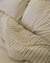 Load image into Gallery viewer, Hemp Flat Sheet - Jaipur Olive Stripe