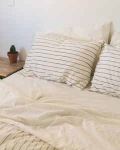 Hemp Pillowcase - Jaipur Olive Stripe