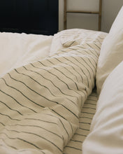 Load image into Gallery viewer, Hemp Fitted Sheet - Jaipur Olive Stripe