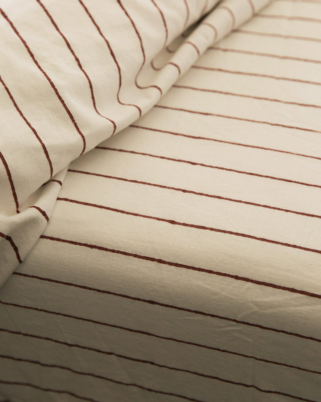 Hemp Fitted Sheet - Red Clay Stripe