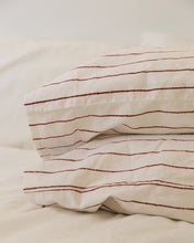 Load image into Gallery viewer, Hemp Pillowcase - Red Clay Stripe