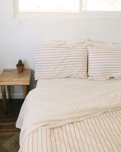Hemp Duvet - Red Clay Stripe